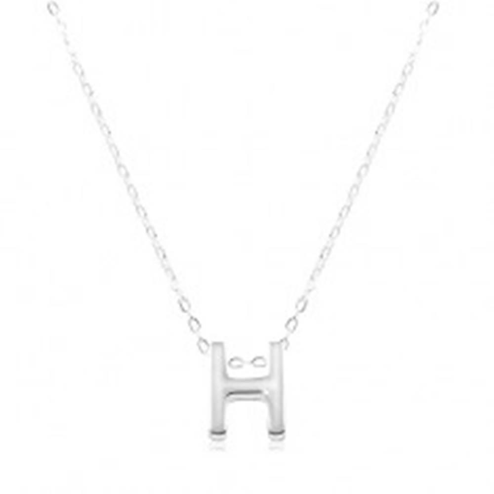 Šperky eshop Strieborný náhrdelník 925, lesklá retiazka, veľké tlačené písmeno H