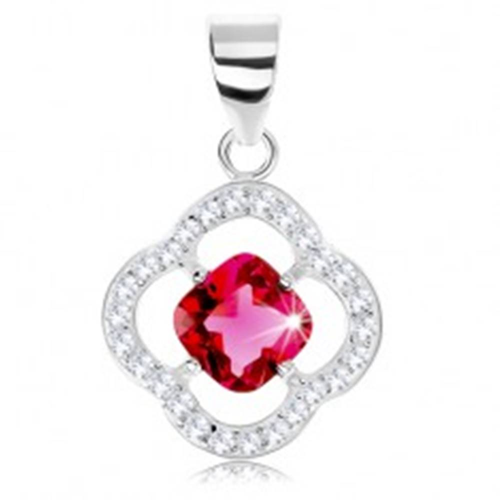 Šperky eshop Strieborný prívesok 925, obrys kvetu, ružový zirkón - kosoštvorec