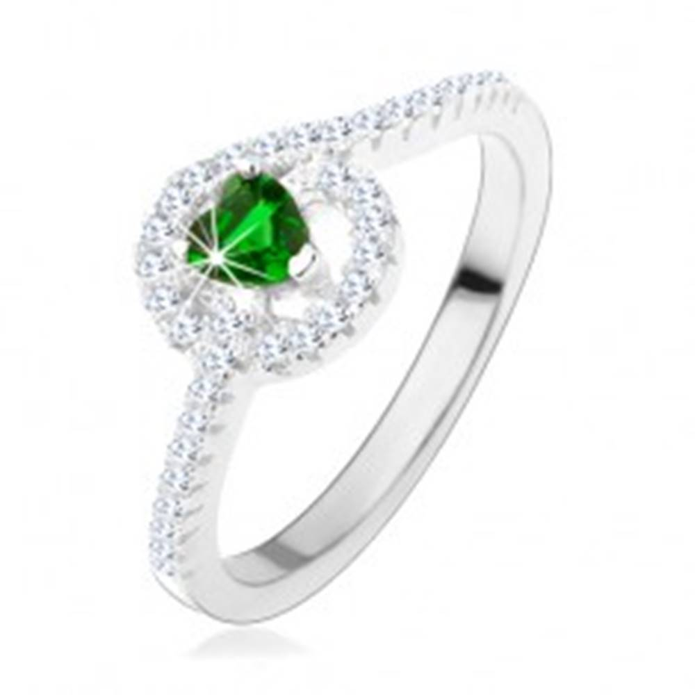 Šperky eshop Zásnubný strieborný prsteň 925, zelené zirkónové srdiečko, trblietavé línie - Veľkosť: 49 mm