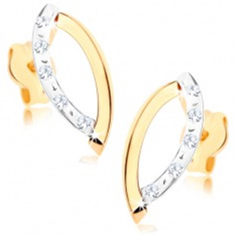 Šperky eshop Zlaté náušnice 375 - dva ligotavé oblúčiky, číre zirkóny, dvojfarebné prevedenie