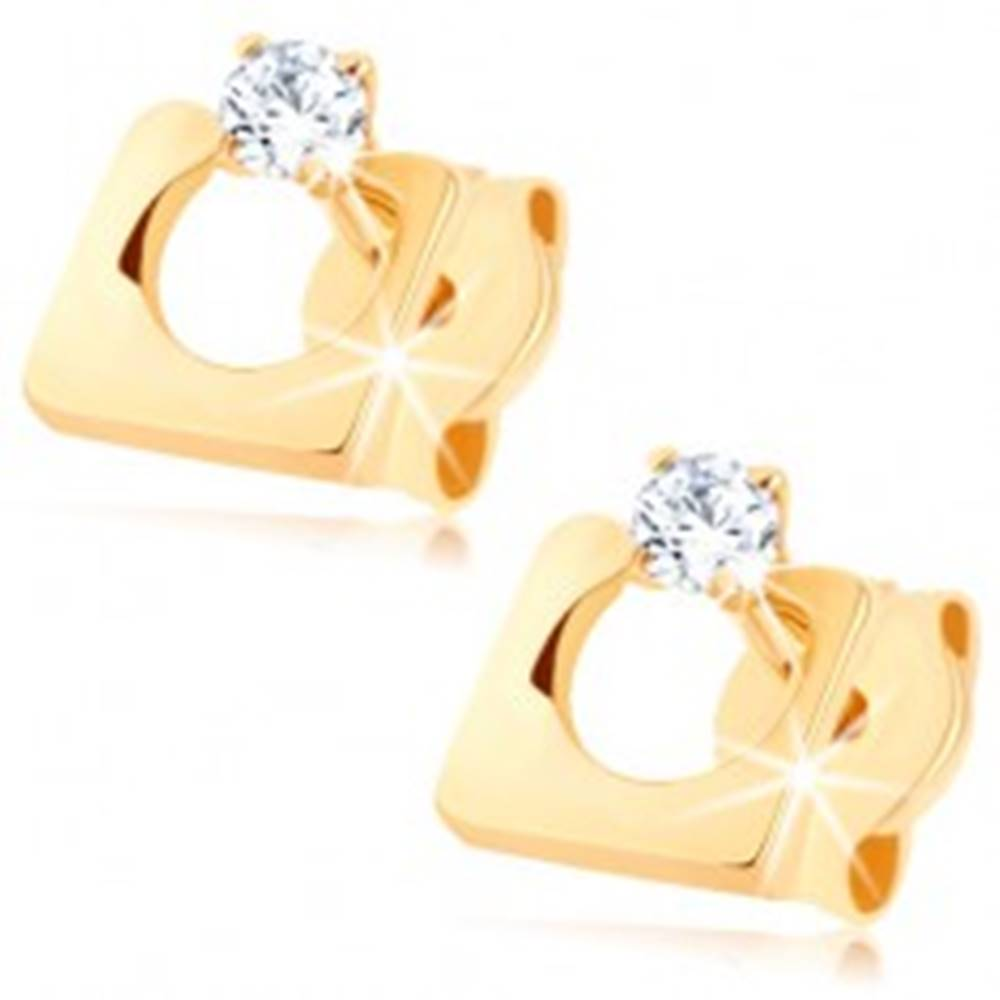 Šperky eshop Zlaté náušnice 375 - štvorec s kruhovým výrezom, číry zirkónik
