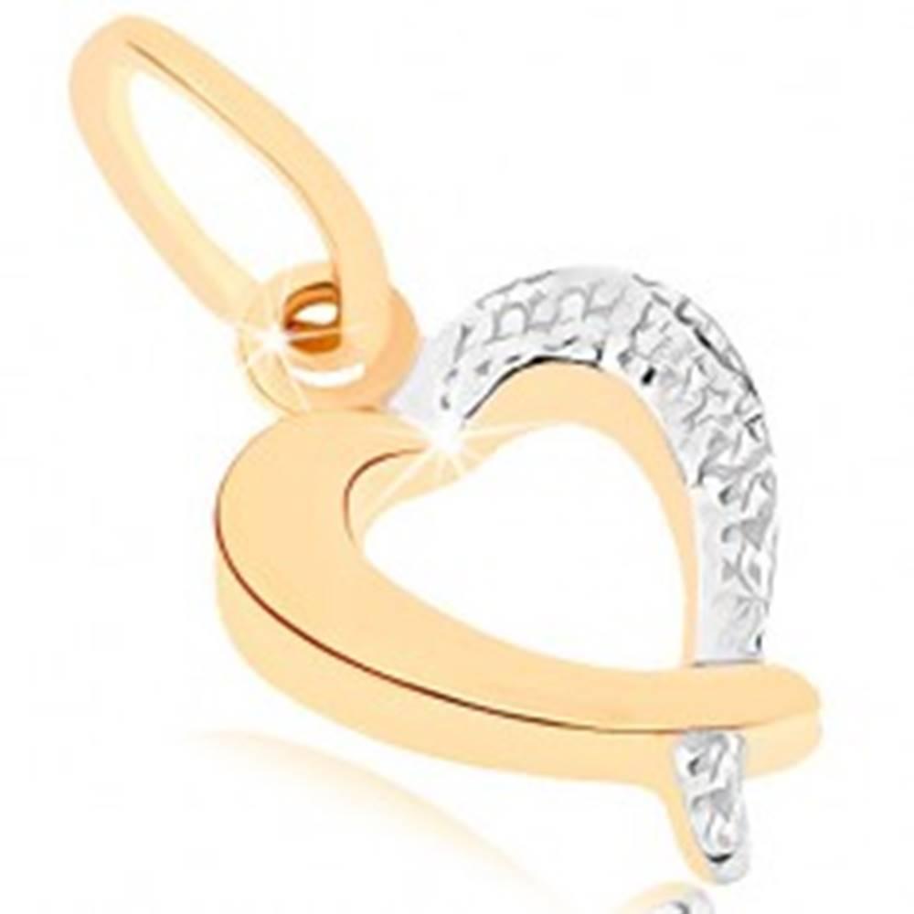 Šperky eshop Zlatý prívesok 375 - ligotavá kontúra srdca, dvojfarebné prevedenie