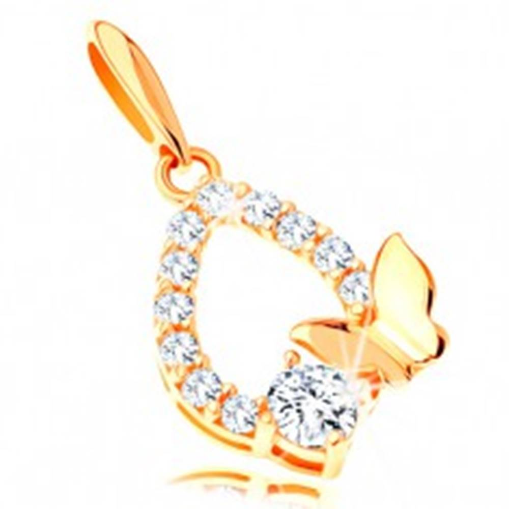 Šperky eshop Zlatý prívesok 585 - trblietavý obrys slzy, lesklý motýlik a číry zirkón