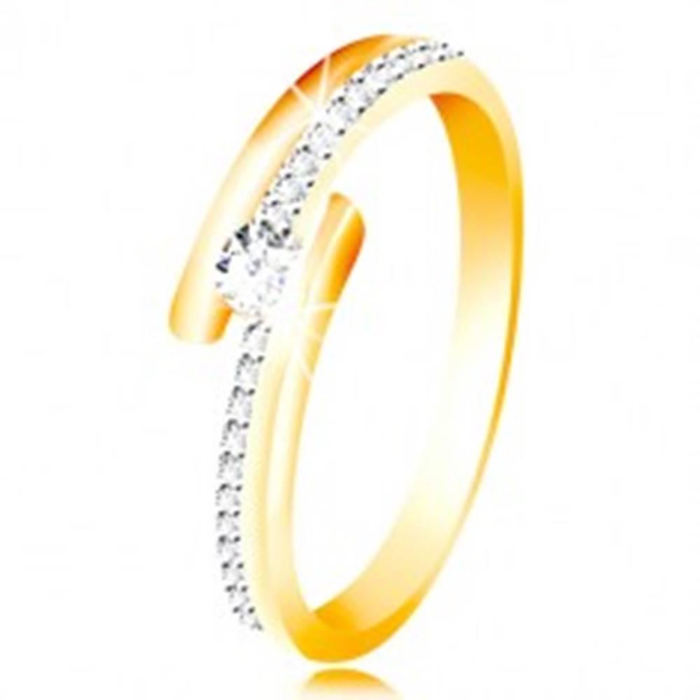 Šperky eshop Zlatý prsteň 585 - rozdvojené ramená, vystúpený okrúhly zirkón čírej farby - Veľkosť: 49 mm