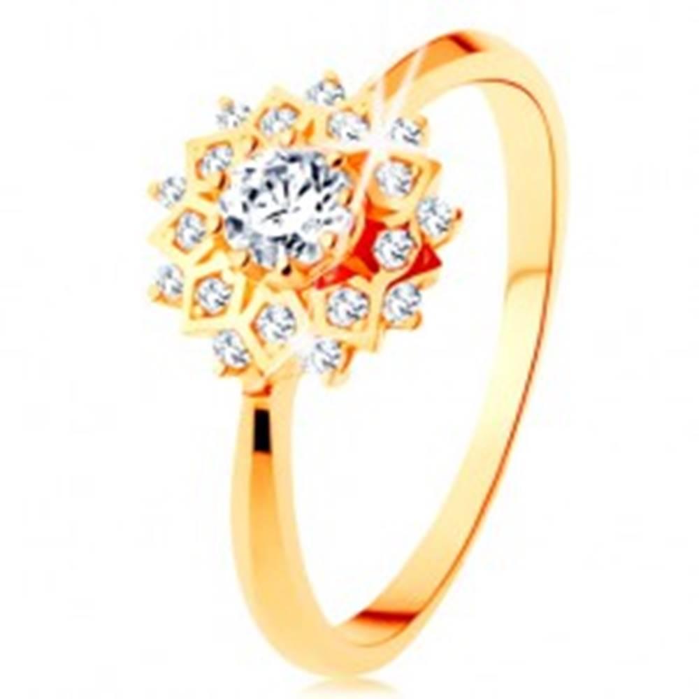 Šperky eshop Zlatý prsteň 585 - trblietavé slnko zdobené okrúhlymi čírymi zirkónikmi - Veľkosť: 49 mm