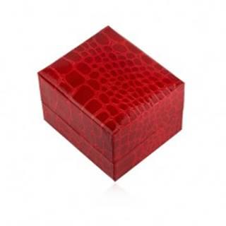 Lesklá darčeková krabička na prsteň, červená farba, krokodílí vzor