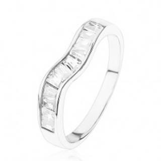 Ligotavý strieborný prsteň 925, zvlnená línia, číre zirkónové lichobežníky - Veľkosť: 49 mm