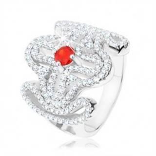 Masívny prsteň, striebro 925, červený zirkónik, rozsiahly ornament - kríž - Veľkosť: 49 mm