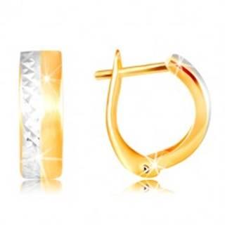 Náušnice zo 14K zlata - hladký matný pás žltej farby, brúsená línia z bieleho zlata