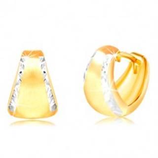 Náušnice zo 14K zlata - matný rozšírený oblúk s brúsenými okrajmi z bieleho zlata
