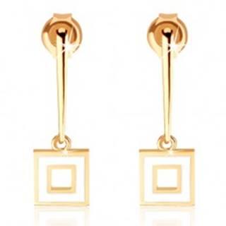 Náušnice zo žltého 9K zlata - úzka palička s obrysom štvorca, biela glazúra