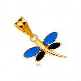 Prívesok v žltom zlate 585 - vážka s glazúrou modrej a čiernej farby na krídlach
