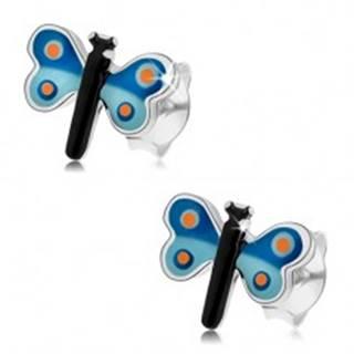 Puzetové náušnice, striebro 925, glazúrovaný motýľ s modrými krídlami, bodky
