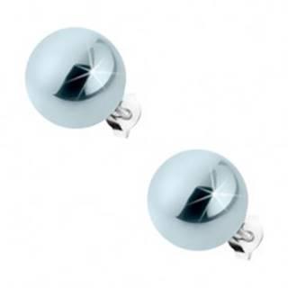 Puzetové náušnice zo striebra 925, oceľovo sivé guličky s perleťovým leskom, 12 mm