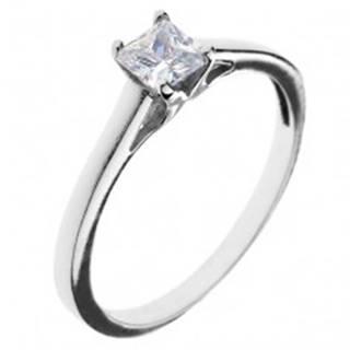 Snubný prsteň zo striebra 925 - štvorcový zirkón s vystúpeným uchytením - Veľkosť: 50 mm