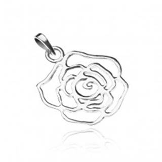 Strieborný prívesok 925 - lesklá obrysová ruža