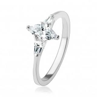 Zásnubný prsteň zo striebra 925, číry zrnkový zirkón, žiarivé lichobežníky - Veľkosť: 49 mm