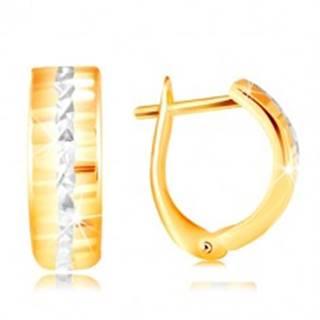 Zlaté 14K náušnice - ligotavý brúsený povrch, línia z bieleho zlata v strede
