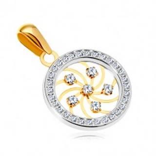 Zlatý prívesok 585 - lesklá špirála a číre zirkóny v obruči z bieleho zlata