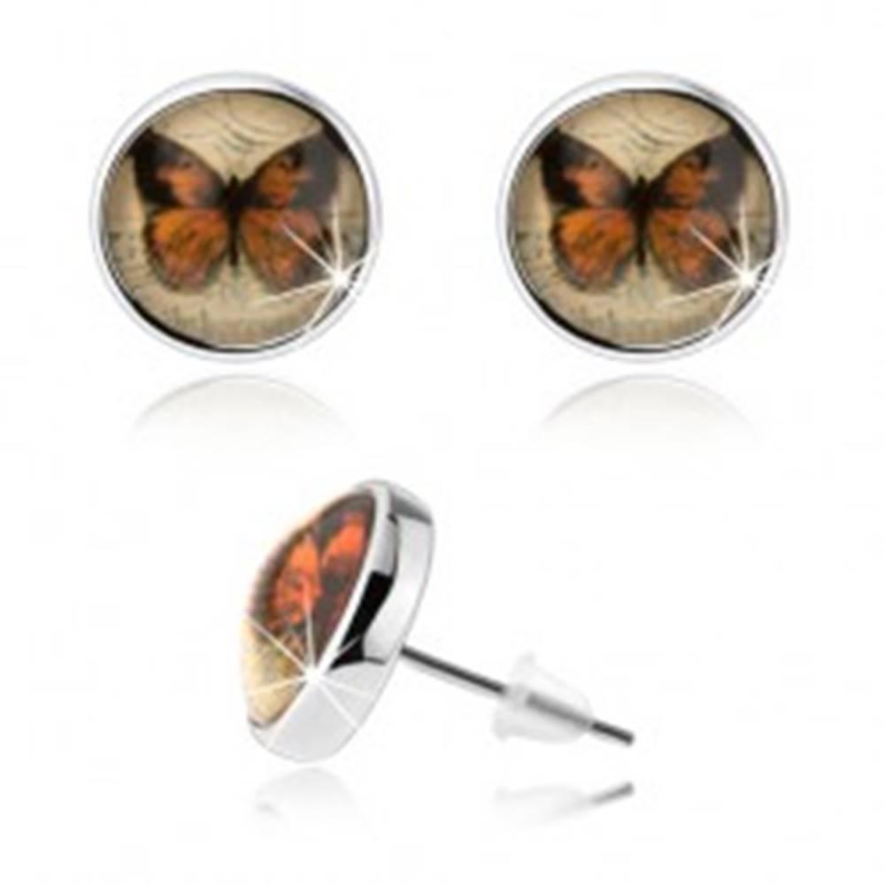 Šperky eshop Cabochon náušnice, strieborná farba, vypuklá glazúra, motýľ, puzetky