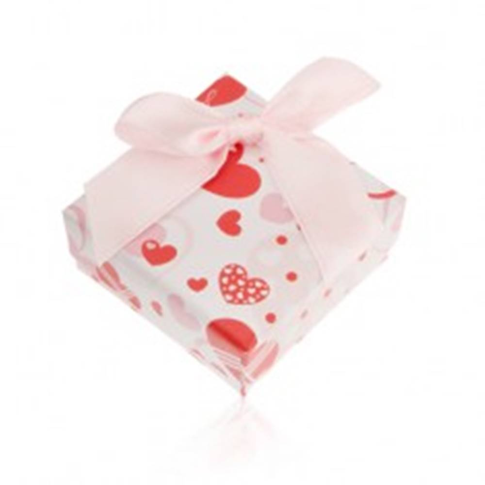 Šperky eshop Darčeková krabička na prsteň a náušnice s romantickým motívom, srdcia
