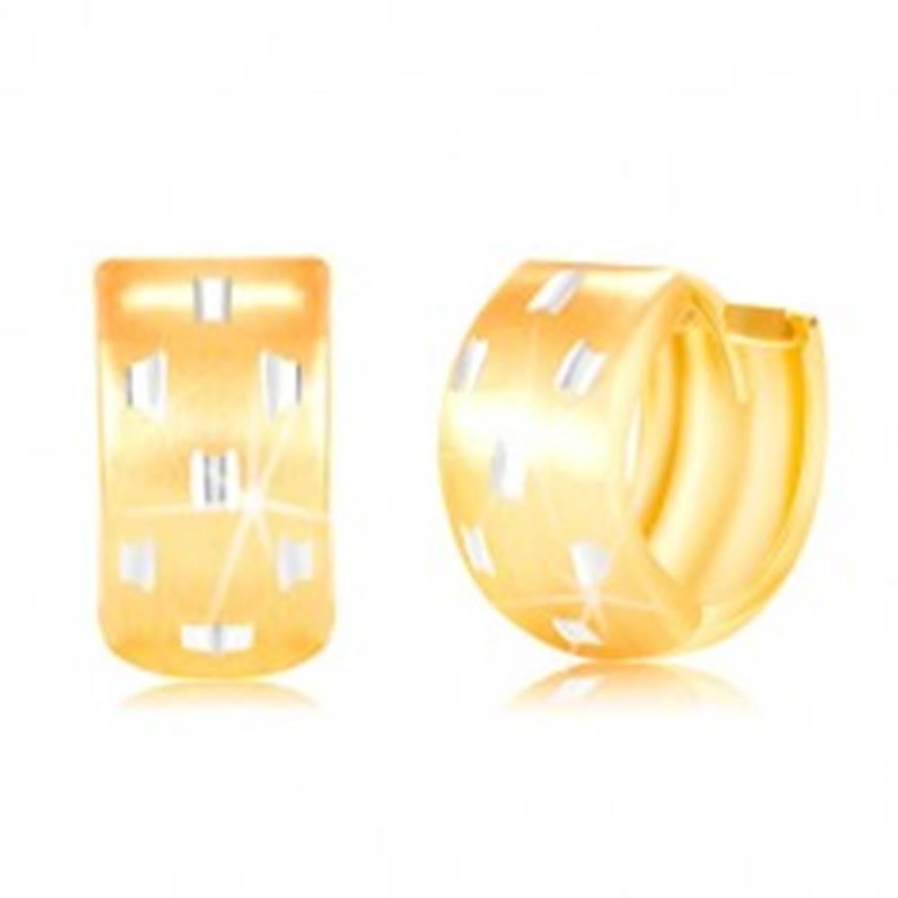 Šperky eshop Kĺbové náušnice v 14K zlate - širší krúžok s drobnými zárezmi