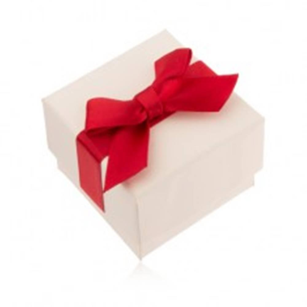 Šperky eshop Krémová darčeková krabička na prsteň, prívesok a náušnice, červená mašľa