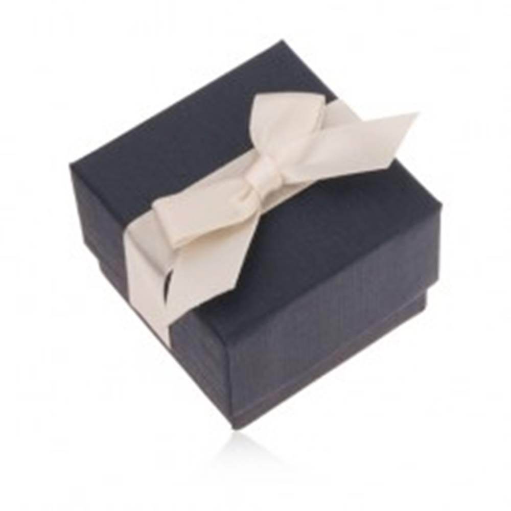 Šperky eshop Modrá darčeková krabička na prsteň, prívesok a náušnice, krémová mašľa