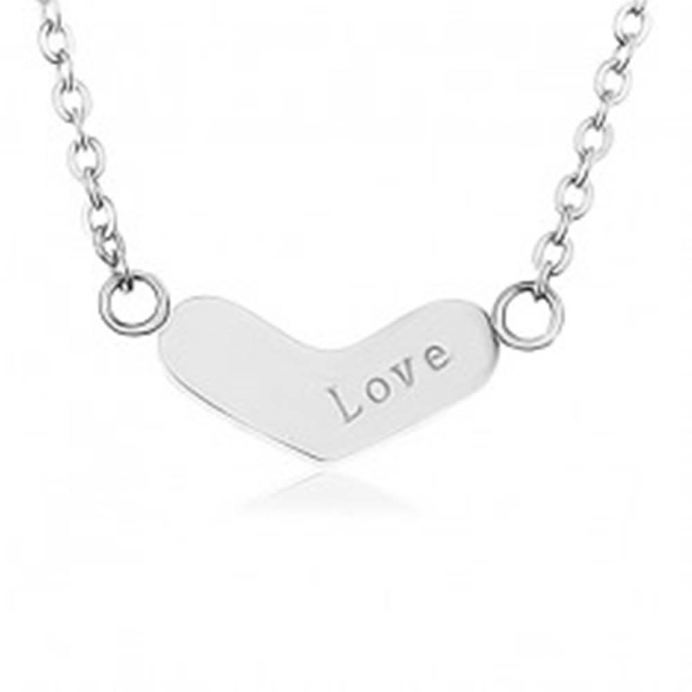 Šperky eshop Nastaviteľná retiazka z ocele 316L, ploché široké srdce, nápis
