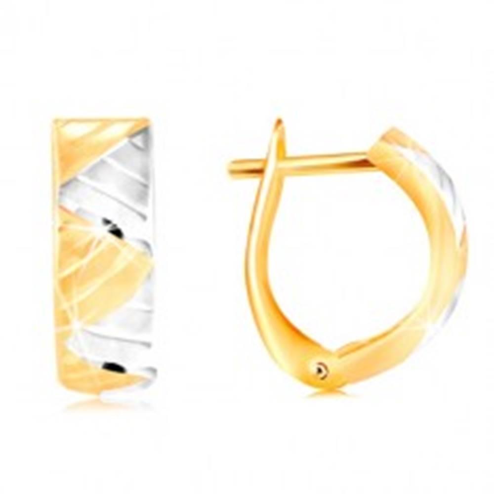 Šperky eshop Náušnice v 14K zlate - oblúk s trojuholníkmi z bieleho a žltého zlata