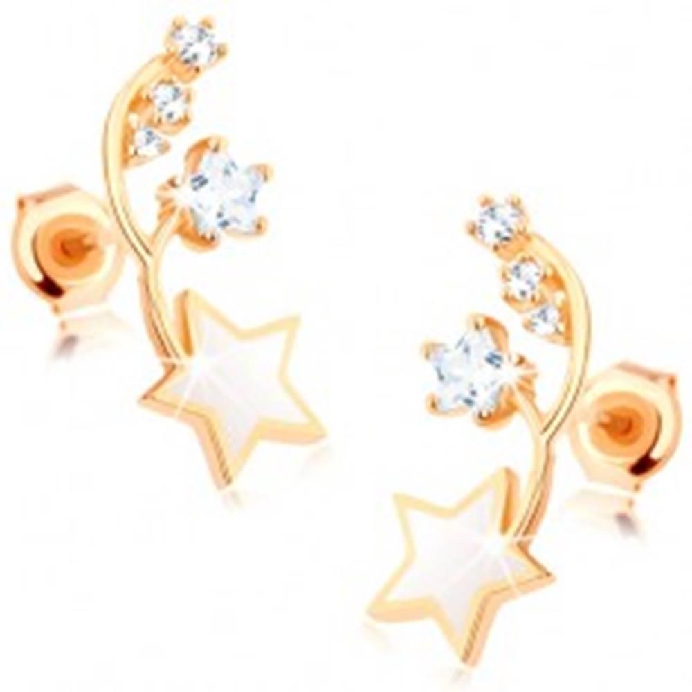 Šperky eshop Náušnice v žltom 9K zlate - dva tenké oblúčiky, biela a zirkónová hviezdička