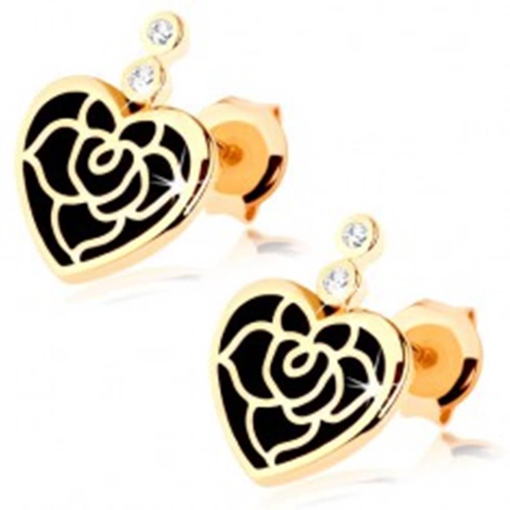 Šperky eshop Náušnice v žltom 9K zlate - pravidelné srdce s čiernou glazúrou, ruža, zirkóny