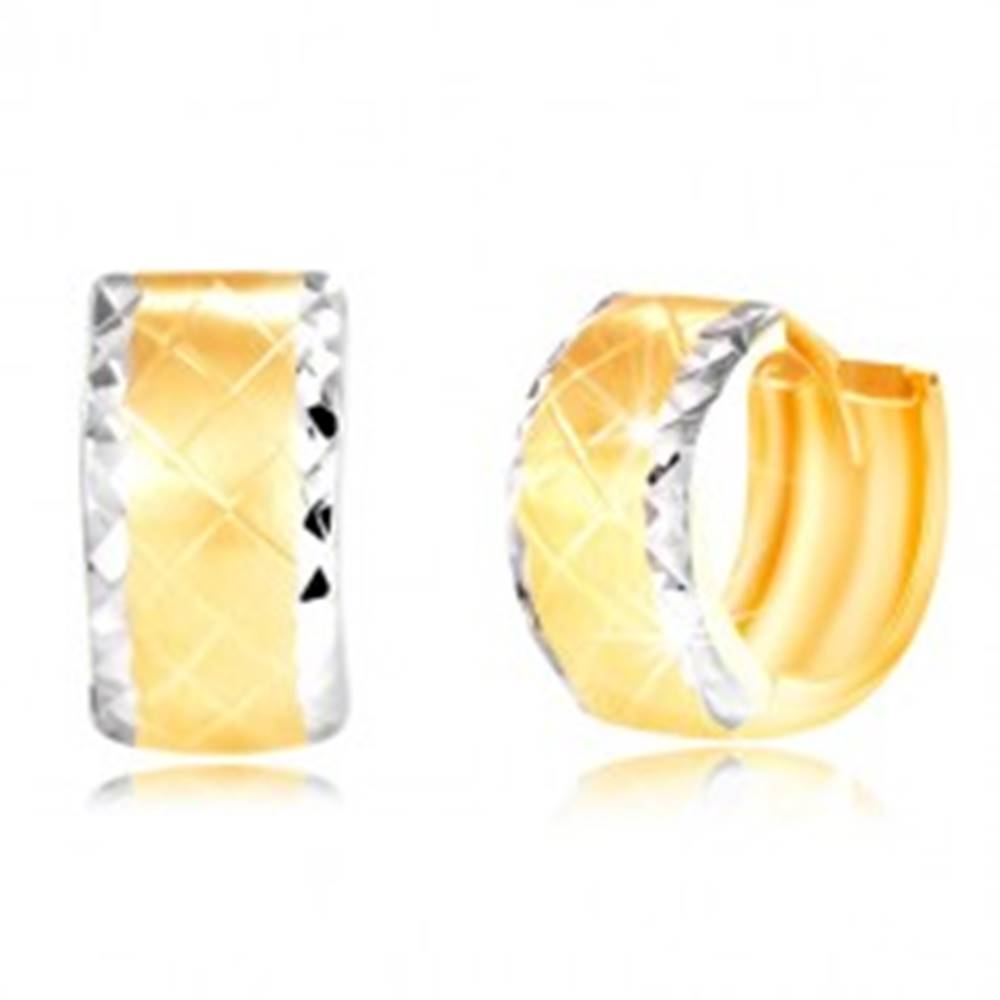 Šperky eshop Náušnice zo 14K zlata - krúžok s brúsenými okrajmi z bieleho zlata