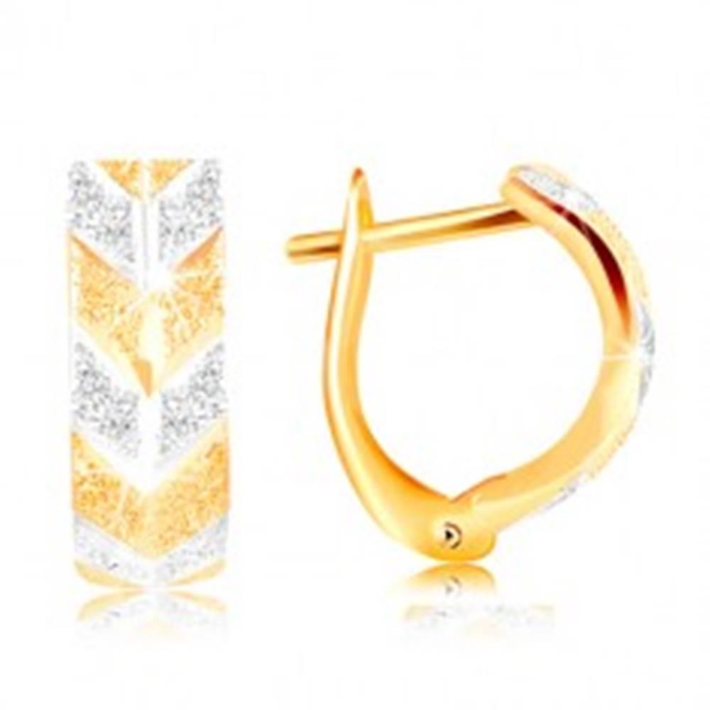 Šperky eshop Náušnice zo zlata 585 - trblietavý pieskovaný povrch, dvojfarebný vzor V