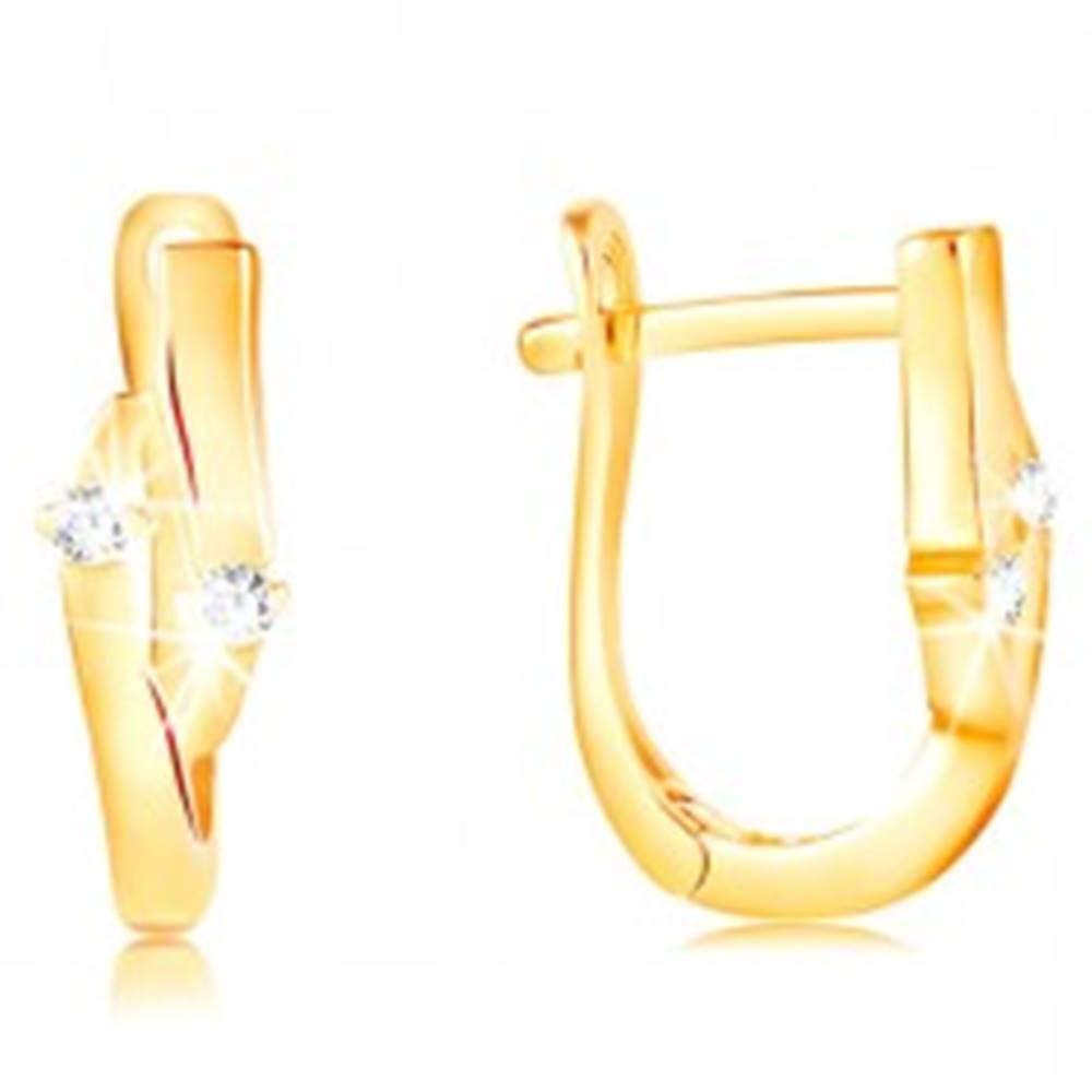 Šperky eshop Náušnice zo žltého 14K zlata - zrnko s výrezom a dvoma čírymi zirkónmi