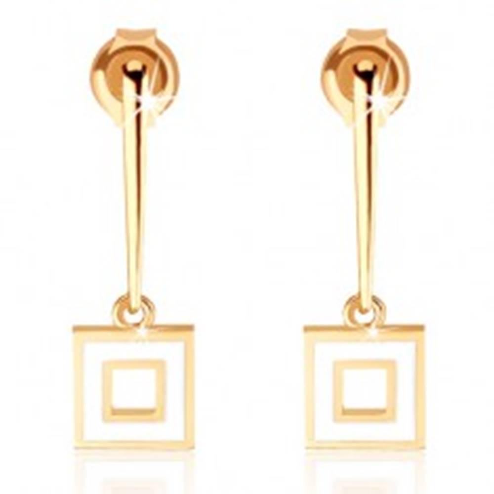 Šperky eshop Náušnice zo žltého 9K zlata - úzka palička s obrysom štvorca, biela glazúra