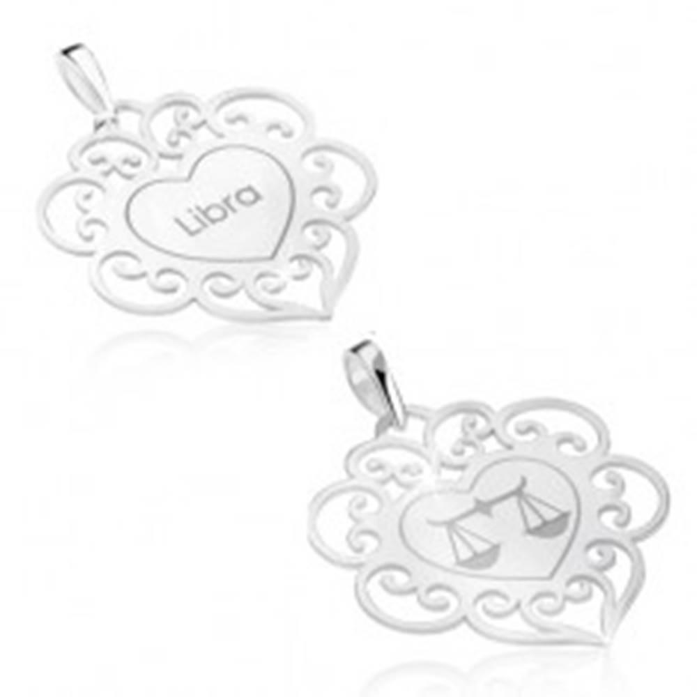 Šperky eshop Obojstranný prívesok, striebro 925, znamenie VÁHY, srdce s ornamentami