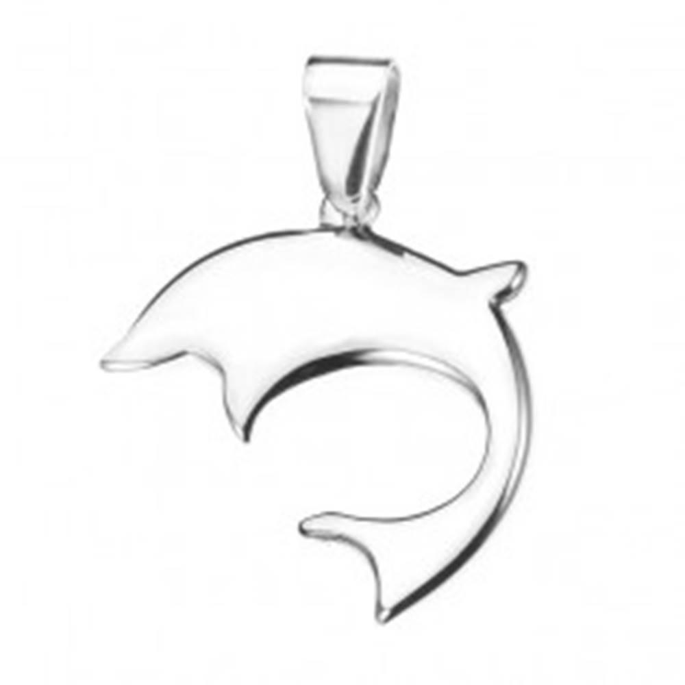 Šperky eshop Oceľový delfín - lesklý prívesok