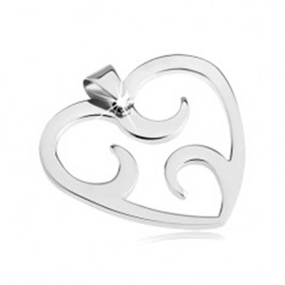 Šperky eshop Oceľový prívesok - výsek srdca s oblúčikmi vo vnútri