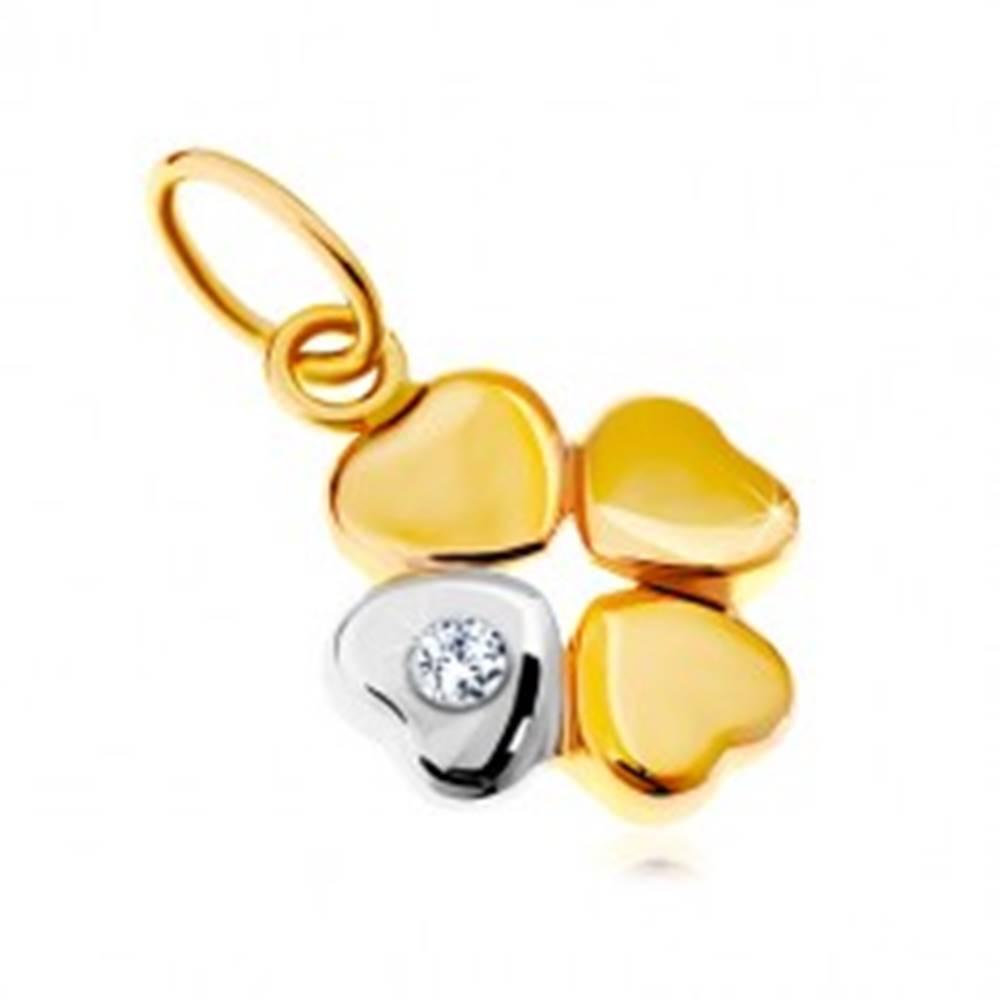 Šperky eshop Prívesok v 14K zlate - dvojfarebný štvorlístok pre šťastie, číry zirkón