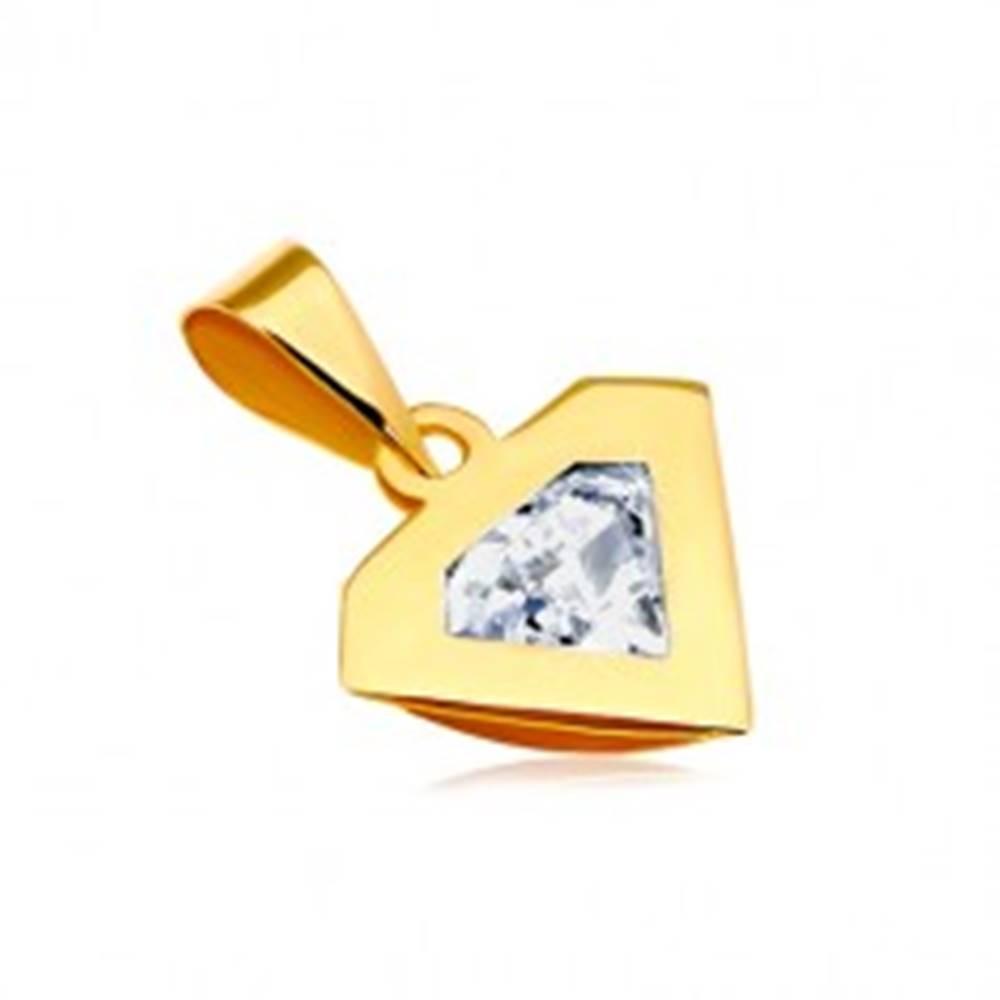 Šperky eshop Prívesok v žltom 14K zlate - silueta diamantu, ligotavý číry zirkón