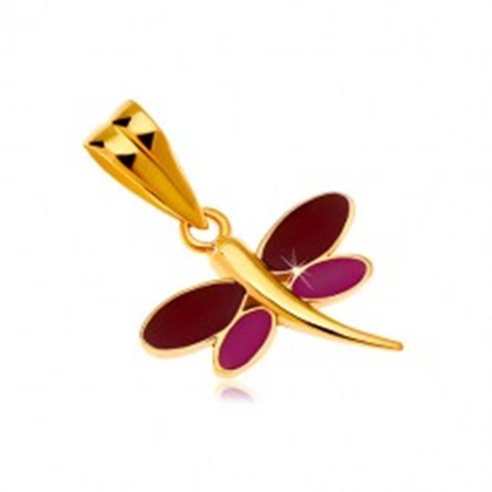 Šperky eshop Prívesok v žltom 14K zlate - vážka s bordovou a fialovou glazúrou na krídlach
