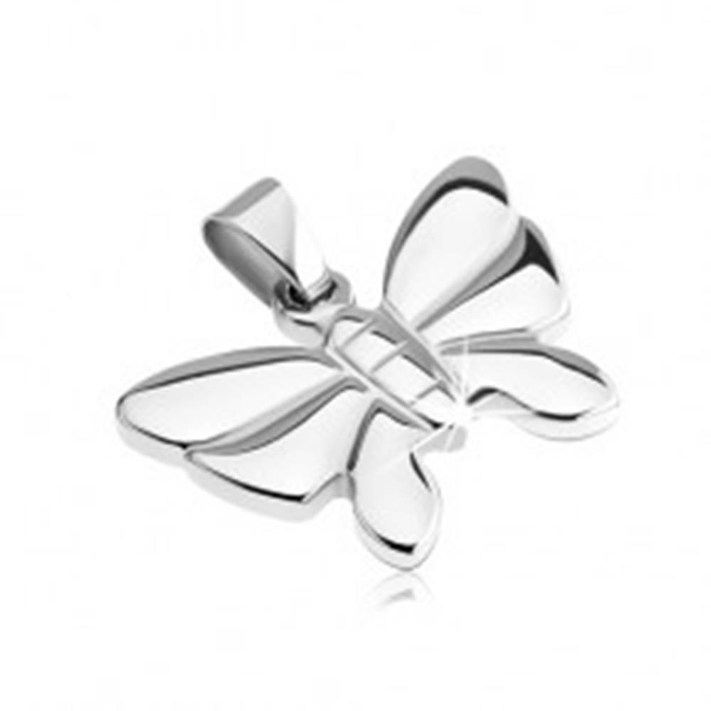 Šperky eshop Prívesok z nehrdzavejúcej ocele - členitý motýľ