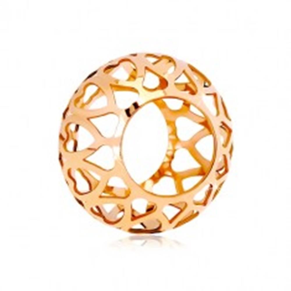 Šperky eshop Prívesok z ružového 14K zlata - dutý valček s vyrezávanými srdiečkami