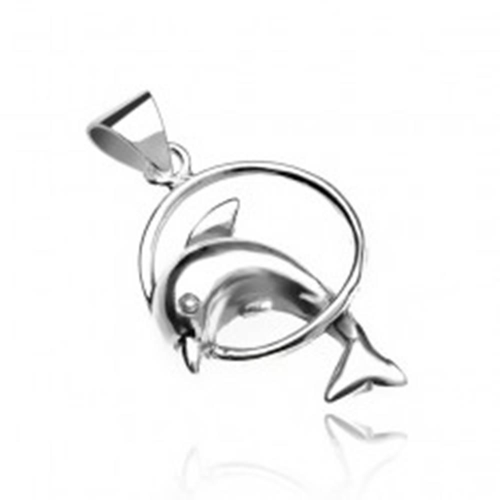 Šperky eshop Prívesok zo striebra 925 - delfín skákajúci cez kruh