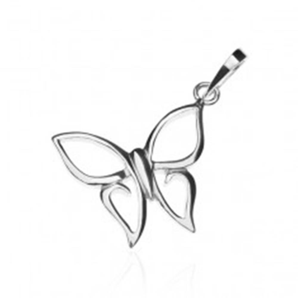 Šperky eshop Prívesok zo striebra 925 - motýlik so špicatými krídlami