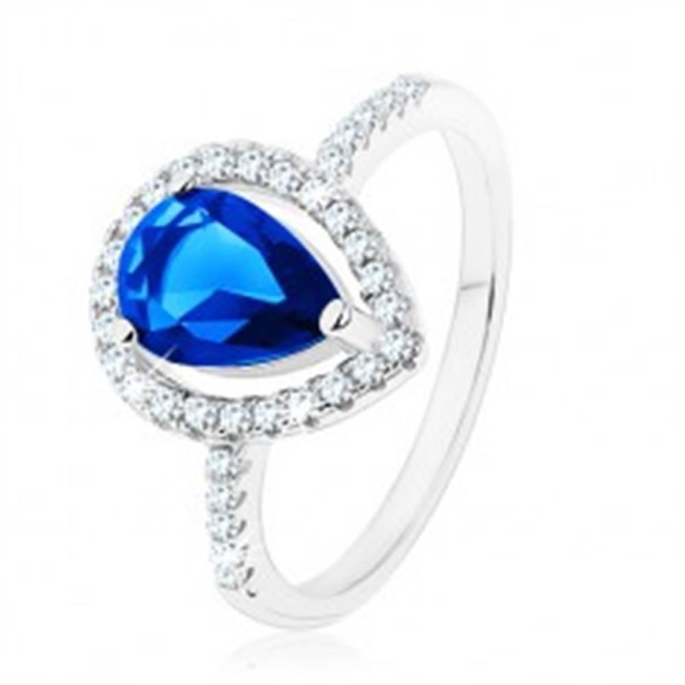 Šperky eshop Prsteň, striebro 925, úzke ramená, zirkónová slza modrej farby - Veľkosť: 49 mm