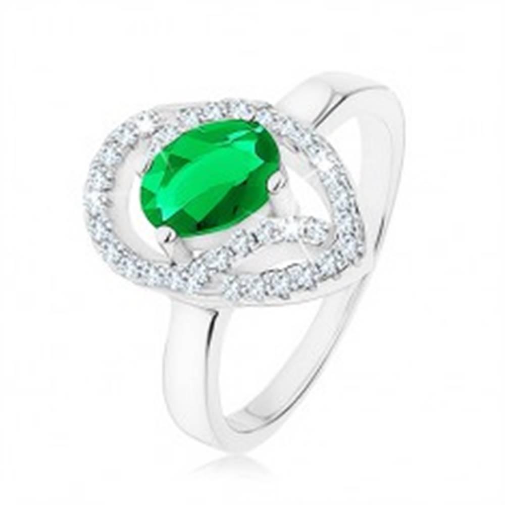 Šperky eshop Prsteň zo striebra 925, oválny zelený zirkón, asymetrická kvapka - obrys - Veľkosť: 49 mm