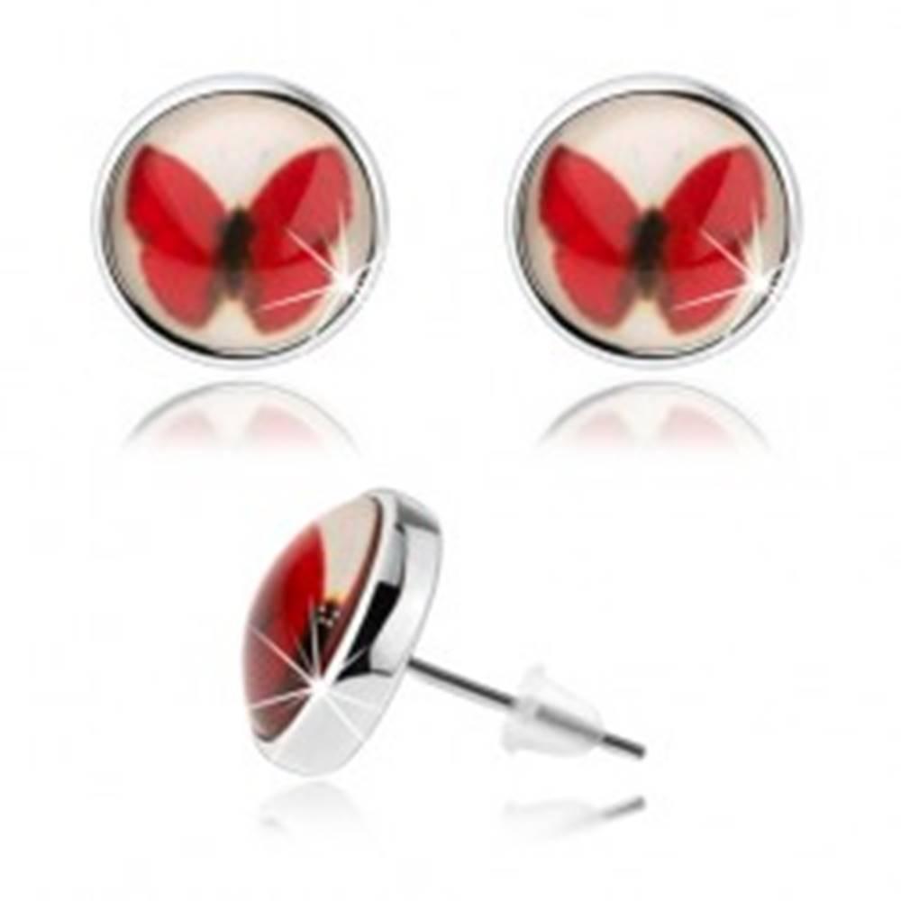 Šperky eshop Puzetové kabošon náušnice, kruh s glazúrou, červený motýlik, biele pozadie