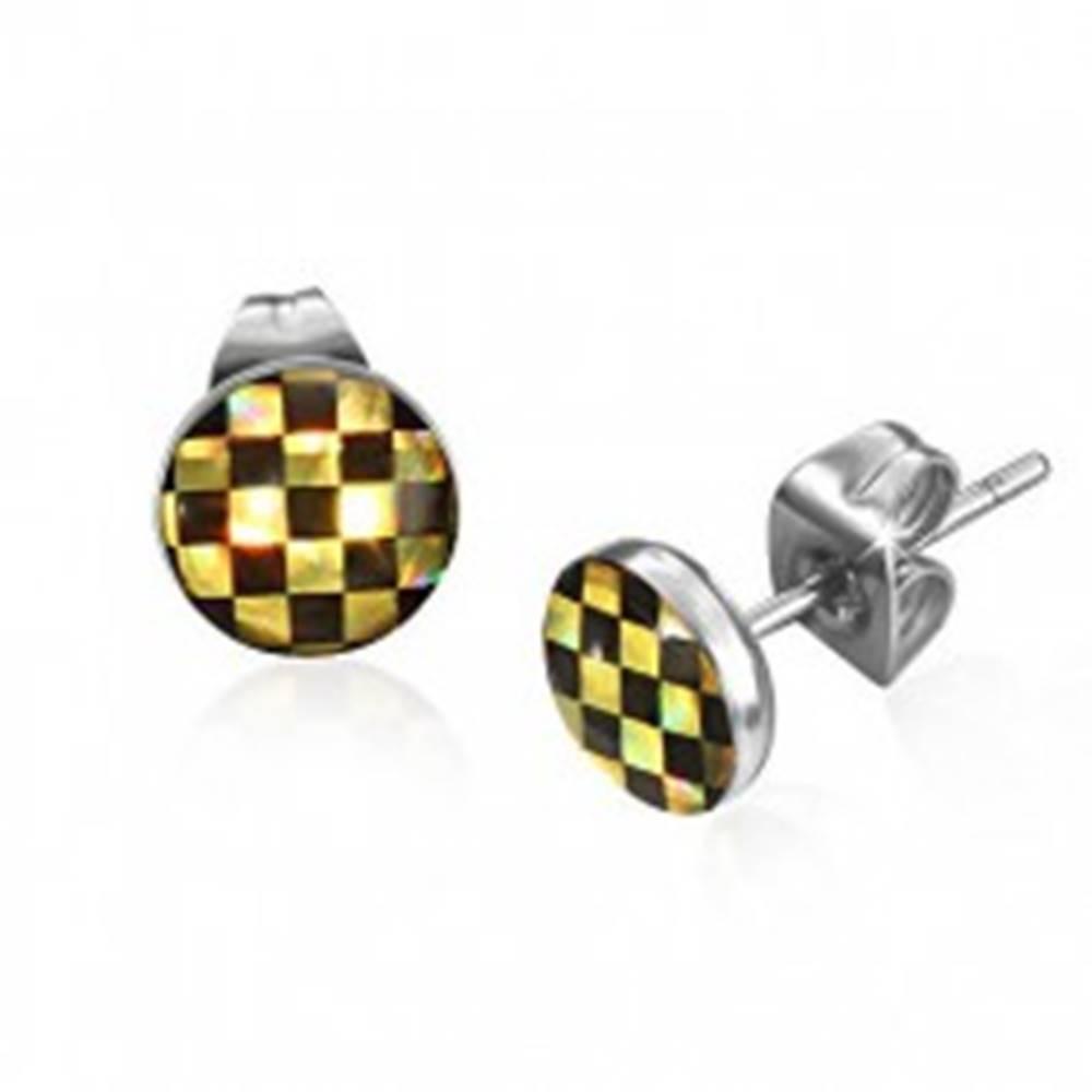 Šperky eshop Puzetové náušnice z ocele - šachovnica v čiernej a žltej farbe